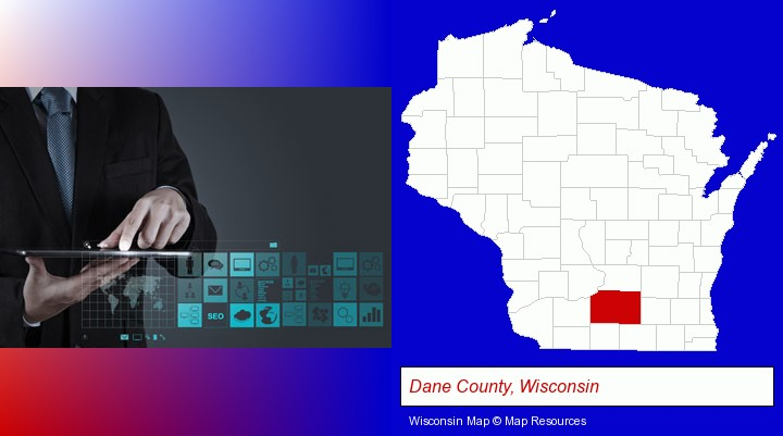 information technology concepts; Dane County, Wisconsin highlighted in red on a map