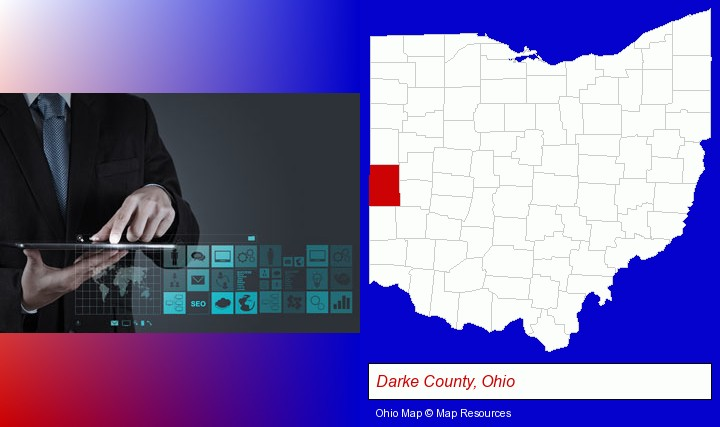 information technology concepts; Darke County, Ohio highlighted in red on a map