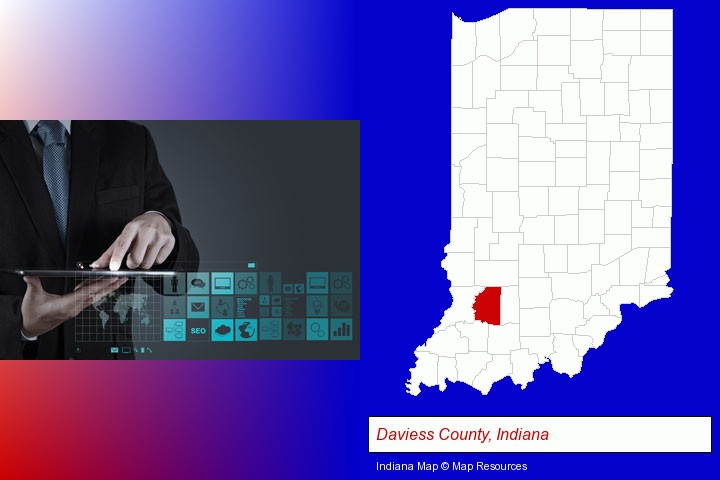 information technology concepts; Daviess County, Indiana highlighted in red on a map