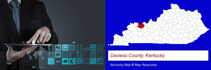 information technology concepts; Daviess County, Kentucky highlighted in red on a map