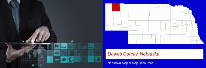 information technology concepts; Dawes County, Nebraska highlighted in red on a map