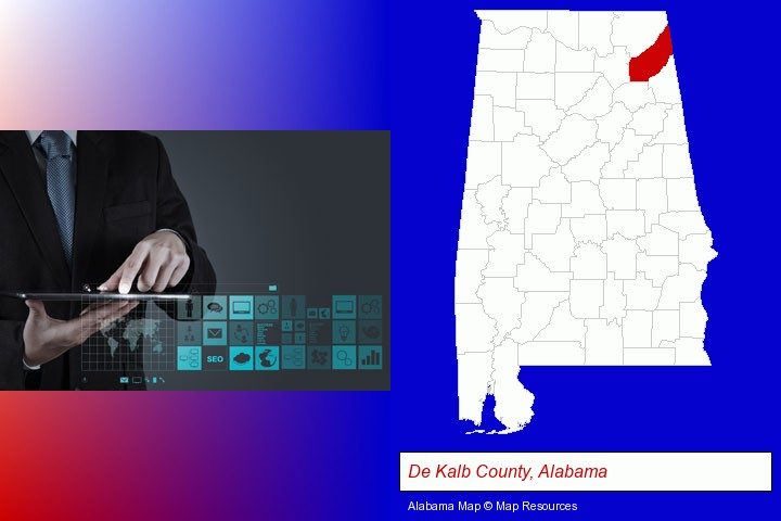 information technology concepts; De Kalb County, Alabama highlighted in red on a map