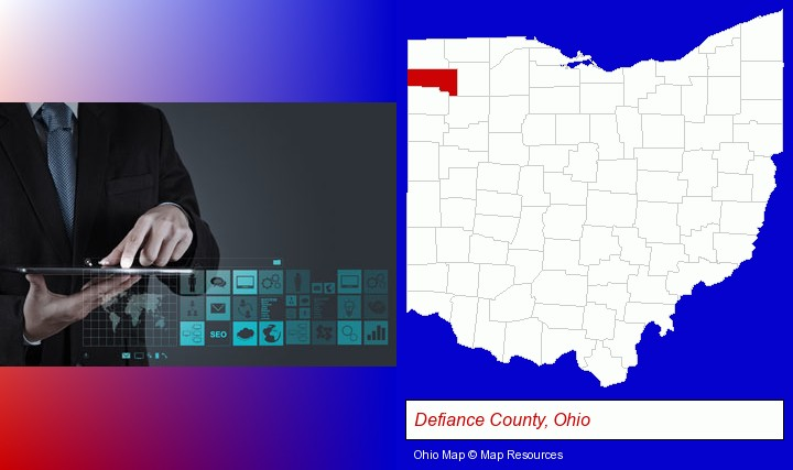 information technology concepts; Defiance County, Ohio highlighted in red on a map