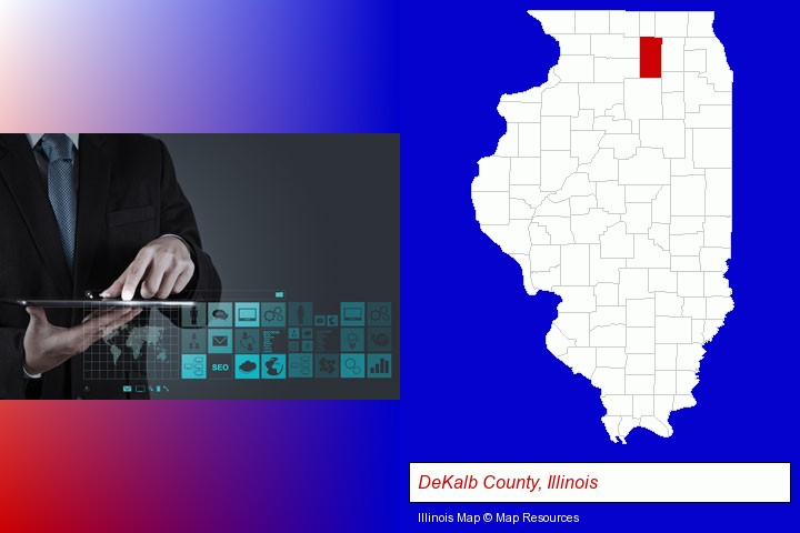 information technology concepts; DeKalb County, Illinois highlighted in red on a map