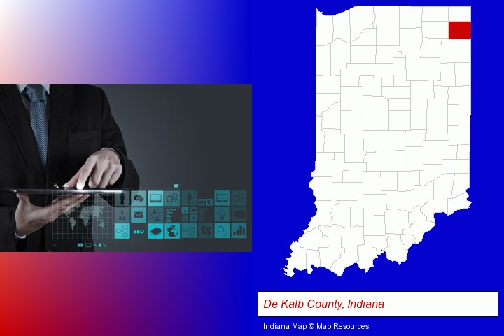 information technology concepts; De Kalb County, Indiana highlighted in red on a map