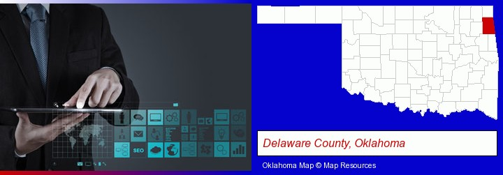 information technology concepts; Delaware County, Oklahoma highlighted in red on a map