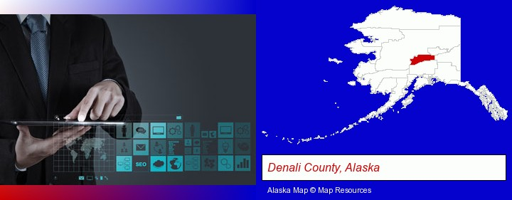 information technology concepts; Denali County, Alaska highlighted in red on a map