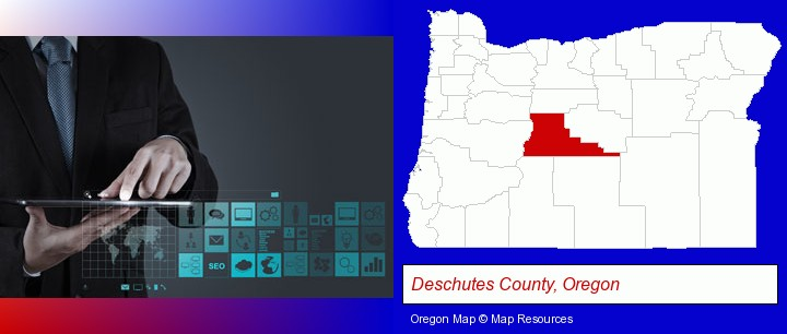 information technology concepts; Deschutes County, Oregon highlighted in red on a map