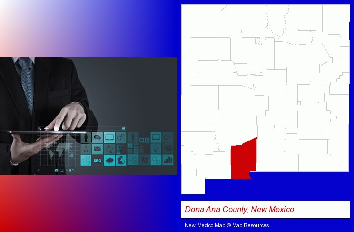 information technology concepts; Dona Ana County, New Mexico highlighted in red on a map