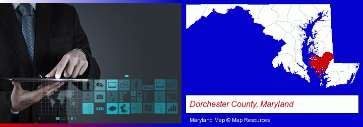 information technology concepts; Dorchester County, Maryland highlighted in red on a map