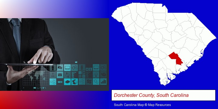 information technology concepts; Dorchester County, South Carolina highlighted in red on a map
