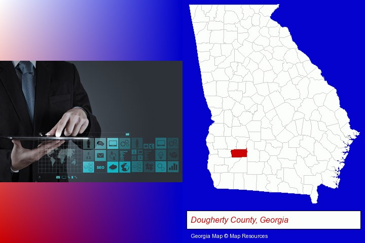 information technology concepts; Dougherty County, Georgia highlighted in red on a map