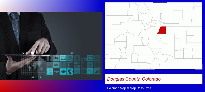 information technology concepts; Douglas County, Colorado highlighted in red on a map