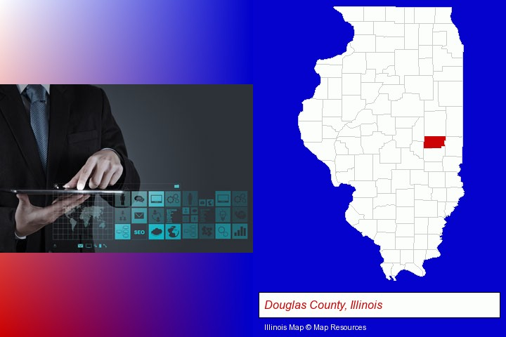 information technology concepts; Douglas County, Illinois highlighted in red on a map