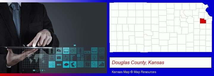 information technology concepts; Douglas County, Kansas highlighted in red on a map