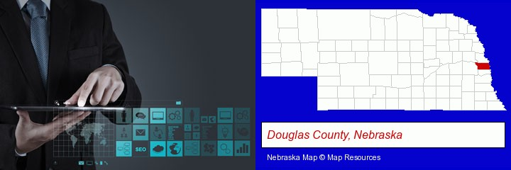 information technology concepts; Douglas County, Nebraska highlighted in red on a map