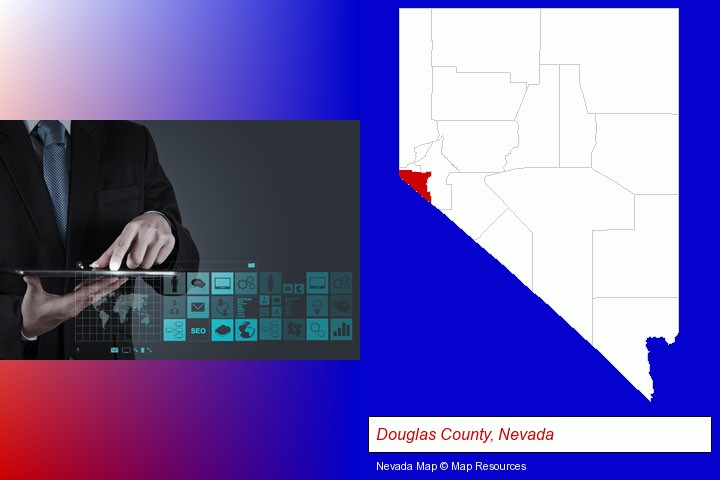 information technology concepts; Douglas County, Nevada highlighted in red on a map