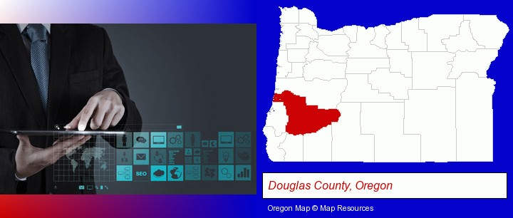 information technology concepts; Douglas County, Oregon highlighted in red on a map