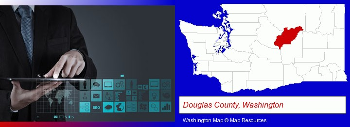 information technology concepts; Douglas County, Washington highlighted in red on a map