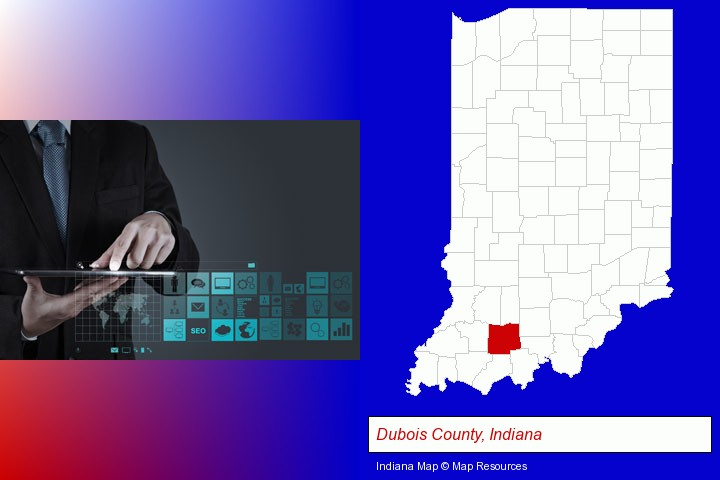 information technology concepts; Dubois County, Indiana highlighted in red on a map