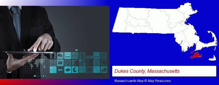 information technology concepts; Dukes County, Massachusetts highlighted in red on a map