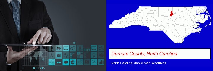 information technology concepts; Durham County, North Carolina highlighted in red on a map