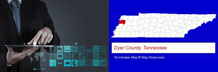 information technology concepts; Dyer County, Tennessee highlighted in red on a map