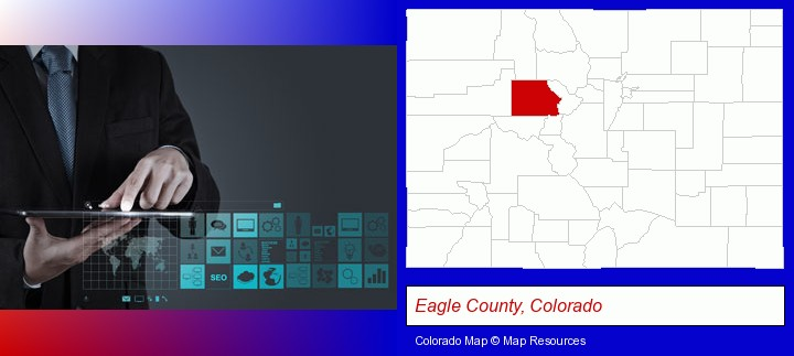 information technology concepts; Eagle County, Colorado highlighted in red on a map
