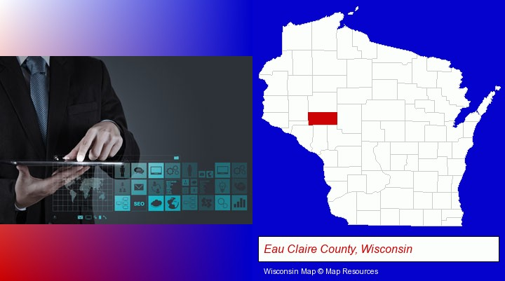 information technology concepts; Eau Claire County, Wisconsin highlighted in red on a map