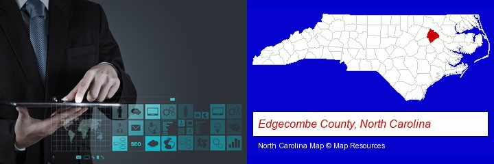information technology concepts; Edgecombe County, North Carolina highlighted in red on a map