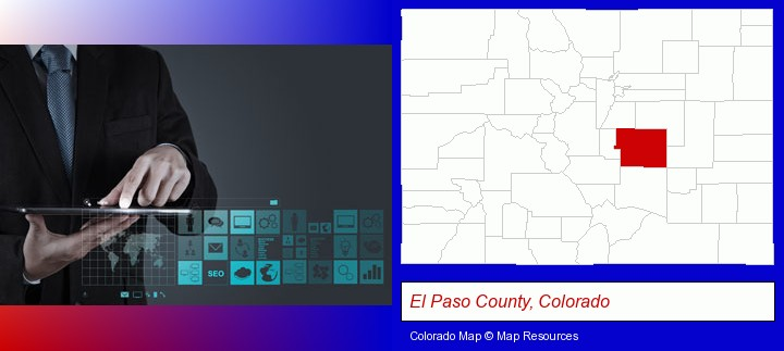information technology concepts; El Paso County, Colorado highlighted in red on a map