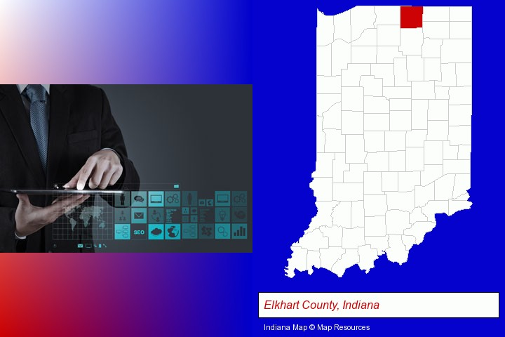 information technology concepts; Elkhart County, Indiana highlighted in red on a map