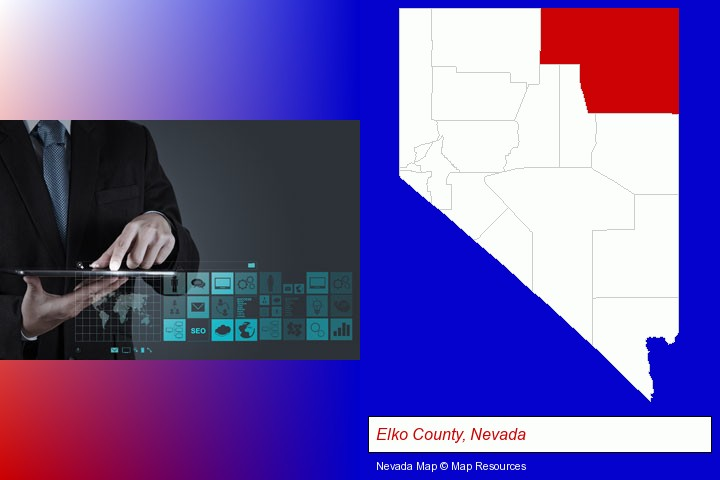 information technology concepts; Elko County, Nevada highlighted in red on a map