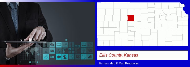 information technology concepts; Ellis County, Kansas highlighted in red on a map