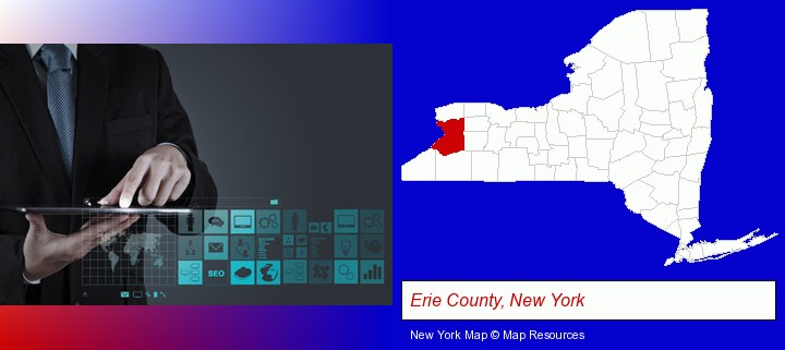 information technology concepts; Erie County, New York highlighted in red on a map