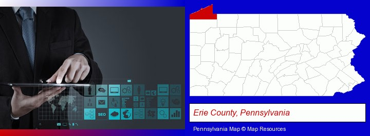information technology concepts; Erie County, Pennsylvania highlighted in red on a map