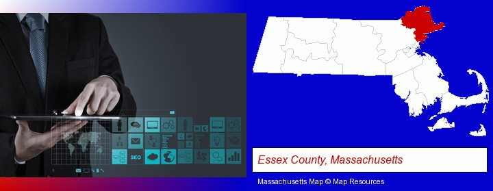information technology concepts; Essex County, Massachusetts highlighted in red on a map