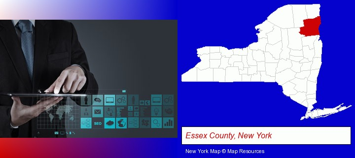 information technology concepts; Essex County, New York highlighted in red on a map