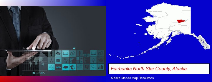 information technology concepts; Fairbanks North Star County, Alaska highlighted in red on a map