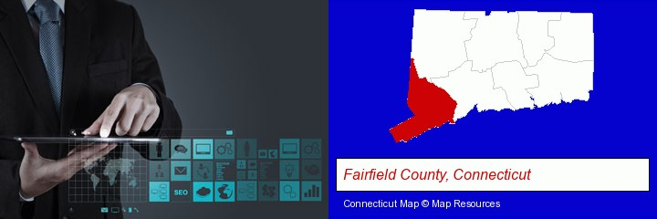 information technology concepts; Fairfield County, Connecticut highlighted in red on a map