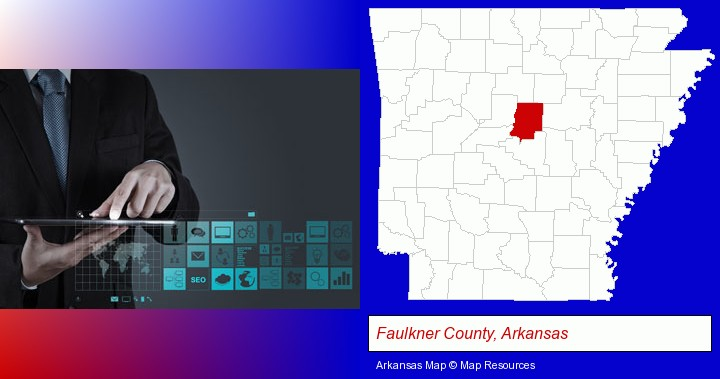 information technology concepts; Faulkner County, Arkansas highlighted in red on a map