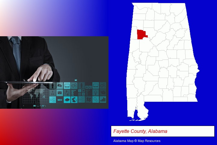 information technology concepts; Fayette County, Alabama highlighted in red on a map