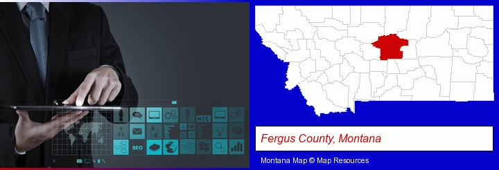 information technology concepts; Fergus County, Montana highlighted in red on a map