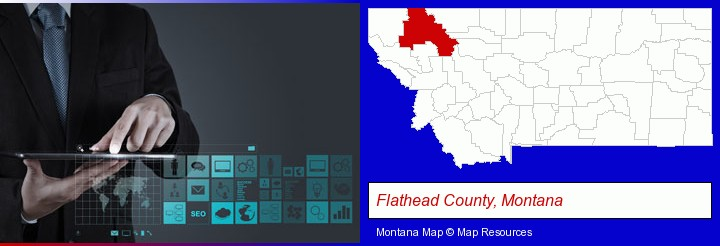 information technology concepts; Flathead County, Montana highlighted in red on a map