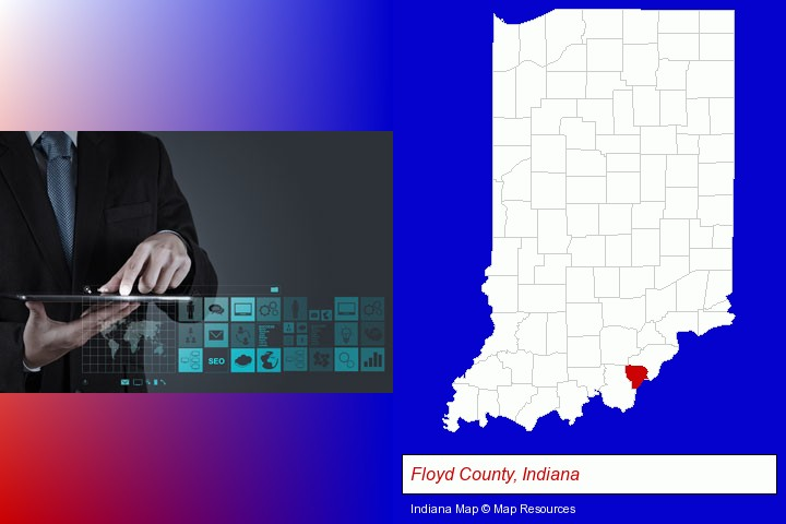 information technology concepts; Floyd County, Indiana highlighted in red on a map