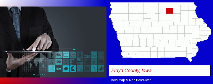 information technology concepts; Floyd County, Iowa highlighted in red on a map