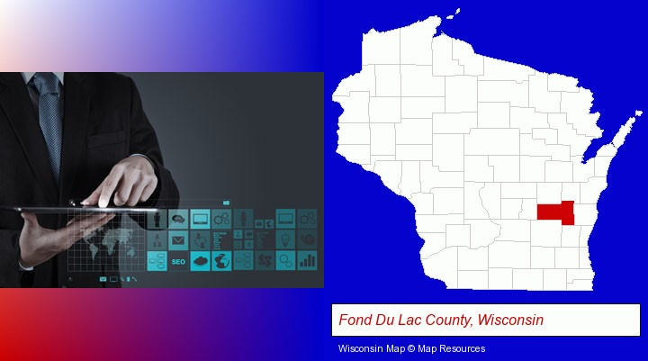 information technology concepts; Fond Du Lac County, Wisconsin highlighted in red on a map