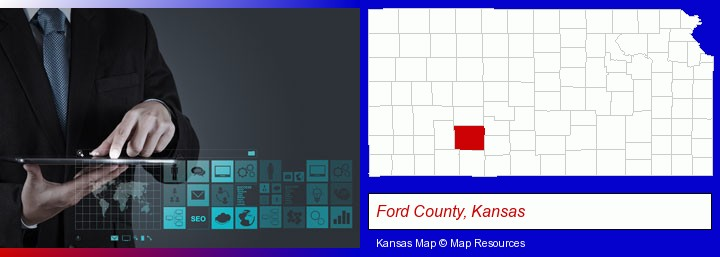 information technology concepts; Ford County, Kansas highlighted in red on a map