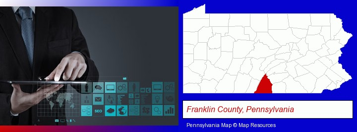 information technology concepts; Franklin County, Pennsylvania highlighted in red on a map