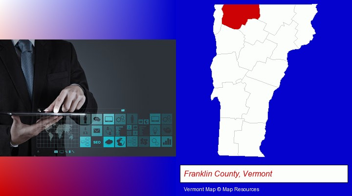 information technology concepts; Franklin County, Vermont highlighted in red on a map